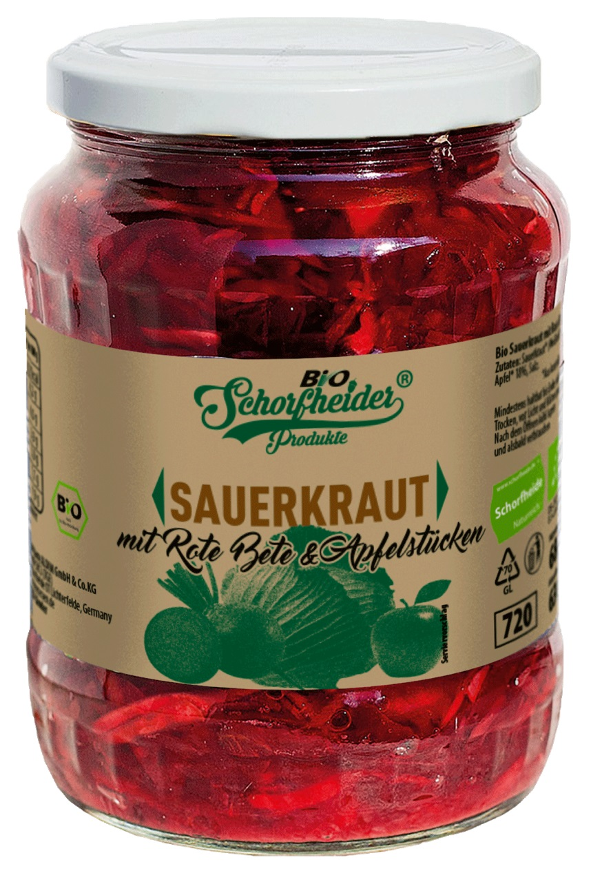 Organic sauerkraut with red beets and apples pasteurized