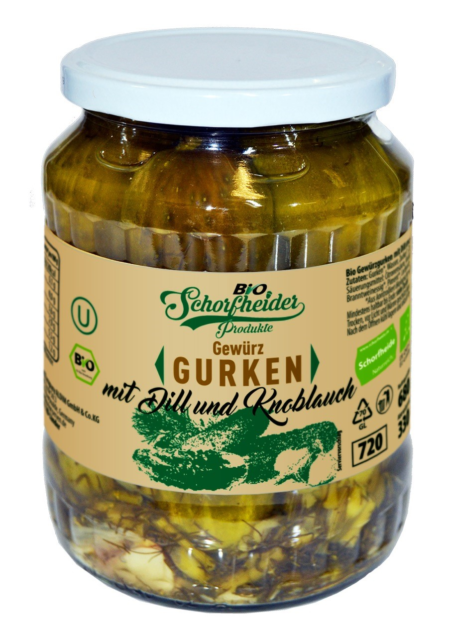 Organic pickled cucumbers with garlic